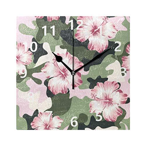 Rootti Art - Reloj cuadrado con diseño de camuflaje de loto, silencioso, no hace tictac, 20 cm, decoración para el hogar, dormitorio, sala de estar, baño, cocina, oficina, salón