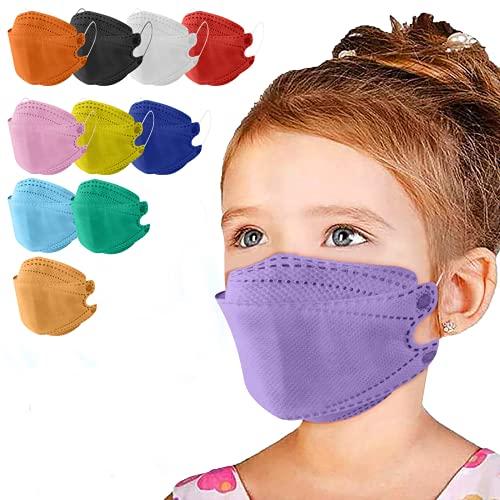 110PCS Kids KF94 Face_Mask Multicolor 4-Ply Breathable 3D Design Fish_Shaped KF94 Màsk for Children Boys Girls