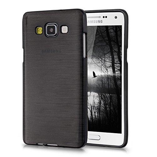 kwmobile Funda Compatible con Samsung Galaxy A5 (2015) - Carcasa de TPU Aluminio Cepillado en Antracita/Transparente