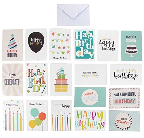 144-Pack gelukkige verjaardagskaarten - 18 ontwerpen - feestmutsen, ballonnen, geschenkdozen, verjaardagstaart en sterren, 8 van elk, enveloppen inbegrepen, 4 x 6 inch