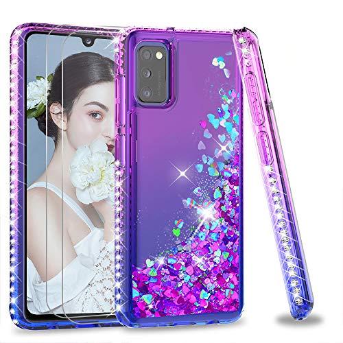 LeYi Funda Samsung Galaxy A41 Silicona Purpurina Carcasa con [2-Unidades] Cristal Vidrio Templado, Transparente Cristal Bumper Gel TPU Fundas Case Cover para Movil A41 Verde/Morado
