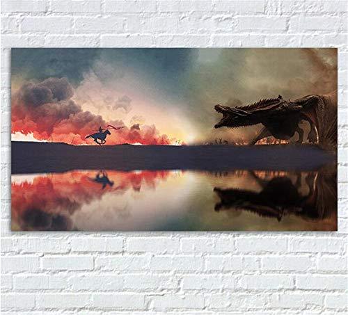 ZKPWLHS ImpresionessobreLienzo 1 Piezas Juego De Tronos Cuadro En Lienzo Cartel Programa De Televisión Impresiones De Aniversario Arte del Dragón Posters Decoración 70 * 100 Cm con Marcos