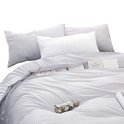 Wake In Cloud - Gray White Striped Duvet Cover Set
