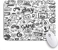 EILANNAマウスパッド 子供のビデオゲームの男の子の黒と白のスケッチ面白い落書き ゲーミング オフィス最適 高級感 おしゃれ 防水 耐久性が良い 滑り止めゴム底 ゲーミングなど適用 用ノートブックコンピュータマウスマット