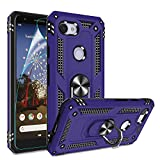 Google Pixel 3A Case, Pixel 3A Phone Case with HD Screen Protector, Gritup 360 Degree Rotating Metal Ring Holder Kickstand Armor Anti-Scratch Bracket Cover Case for Google Pixel 3A 2019 Purple