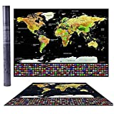 KIMZY Carte du monde à gratter XXL pour voyageur, poster mural Doré sur fond noir, drapeau des...