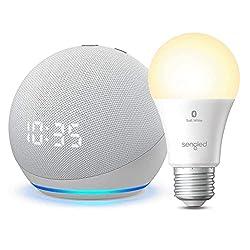 powerful Brand new Echo Dot with clock (4th generation) – Glacier White – Sengled Bluetooth light …