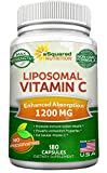 Liposomal Vitamin C - 1200mg Supplement - 180 Capsules - High Absorption VIT C Ascorbic Acid Pills - Supports Immune System & Collagen Health - Non-GMO - 90 Servings