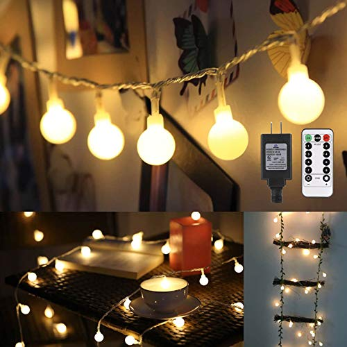ALOVECO 44ft 100 LED Globe String Lights, 8 Dimmable Lighting Modes with Remote & Timer, UL Listed 29V Low Voltage Waterproof Decorative Lights for Bedroom, Patio, Garden, Party(Warm Color)