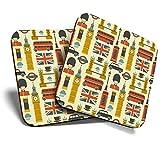 Great Coasters (Set de 2) Posavasos cuadrado/brillante de calidad para cualquier tipo de mesa, diseño de los iconos de Londres, turismo de Inglaterra #3988