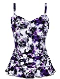 Hilor Women's 50's Retro Ruched Tankini Swimsuit Top with Ruffle Hem Purple Floral 8