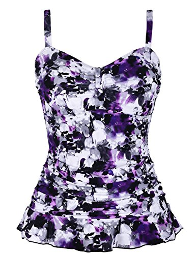 Hilor Women's 50's Retro Ruched Tankini Swimsuit Top with Ruffled Hem Purple Floral 12