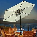 Ombrello Ad Energia Solare con 30 Luci A LED, Parasole da Tavolo in Alluminio per Esterni per Coperta, Piscina Regolazione Dell'inclinazione E della Pedivella