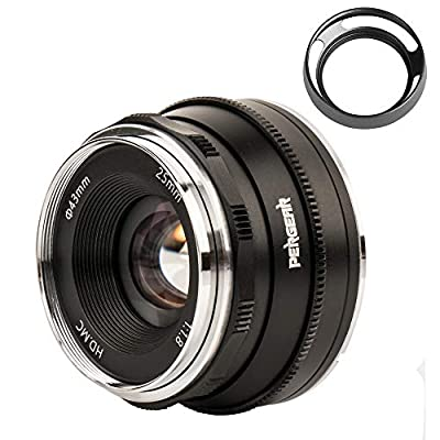 Pergear 25mm F1.8 Manual Focus Fixed Lens for Fujifilm Fuji Cameras X-A1 X-A10 X-A2 X-A3 A-at X-M1 XM2 X-T1 X-T3 X-T10 X-T2 X-T20 X-T30 X-Pro1 X-Pro2 X-E1 X-E2 E-E2s X-E3 by Pergear