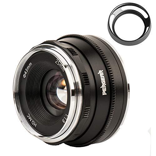 Pergear 25mm F1.8 交換レンズ オリンパスとパナソニック用 マイクロフォーサーズ 交換用レンズ f1.8-f16 明るい ボケ味 ポートレート 風景に最適 GM1 GM5 GM7 GX1 GX7 GX8 GX86 GX9 G1 G2 G3 G5 GF6 GF7 GF8 GF9 GF10 EPM1 EPM2 E-P1 E-P2 E-P3 E-P5 E-M1 E-M1II E-M5 E-M5II E-M10 E-M10II E-PL1 E-PL2 E-PL3 E-PL5に対応 (黑)
