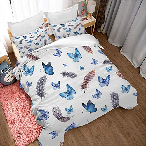 ERBWB 3-Piece Kids Bedding Duvet Cover Set Blue Butterfly (2 Quilt Cover with Zipper Closure and 1 Pillowcase), Duvet Cover Soft Polyester 55.1.X78.7inch