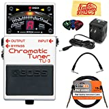 Boss TU-3 Chromatic Tuner Bundle with Power Supply, Instrument Cable, Patch Cable, Picks, and Austin Bazaar Polishing Cloth