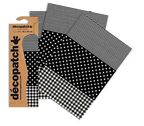 Decopatch Papier No. 485 (schwarz Punktkaro weiß, 395 x 298 mm) 3er Pack
