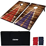 JOYIN 2 Regulation Size Cornhole Game Set (4 Feet x 2 Feet), Classic Rustic Wood Cornhole Boards, Includes 8 All-Weather Regulation Bean Bags, Carrying Case and Rules