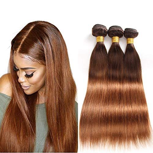 Fastest Shipping Ombre Brazilian Virgin Hair Straight Hair Bundles with Closure (12''14''16''+12''Closure) 2 Tone Ombre Brazilian Human Hair Weave Bundles and Closure T4/30 Medium Brown/Auburn