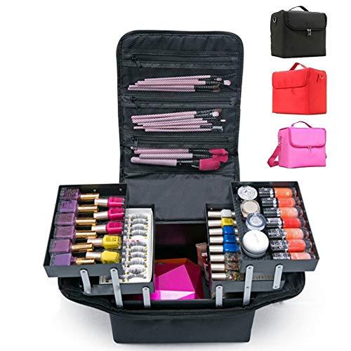 YCBHD Make-Up Bag Handheld Grote Capaciteit Multi-layer Manicure Kappers Borduren Tool Kit Cosmetica Opbergtas Toilettas Multifunctionele toolkit Zwart Goud