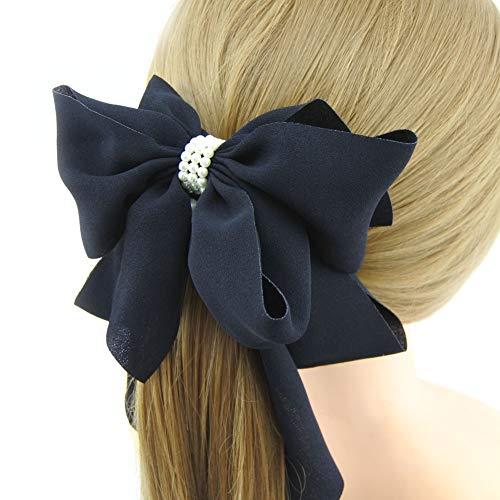 Meilliwish Stoff Perle Wunderschönen Bananen-Haarspange Haarspange für Frauen Mädchen (H77)(Black)