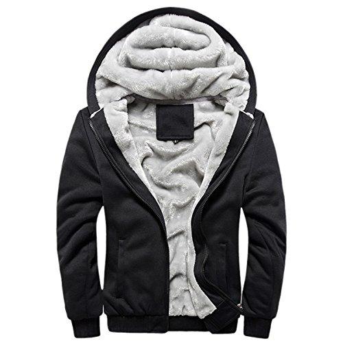 Panegy - Herbst Winter Sweatjacke Sweatshirt Kapuzenpullover Kapuzenjacke für Jungen Männer Dick Hoodie Sportjacke Baseball Jacke - Schwarz - Größe 5XL
