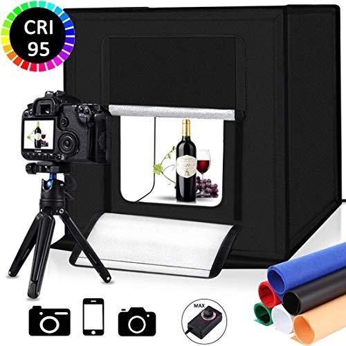 Scatola luminosa portatile per studio fotografico, kit di illuminazione per tenda da 40,6 cm, illuminazione softbox LED 5500k CRI95 e 6 colori sfondi per la visualizzazione del prodott