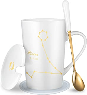 Fullcci-15oz Creative Constellation Pisces Coffee Mug With Spoon Lid Coaster Set Capacity Upgrade Tea Cup For Cocoa Water ...