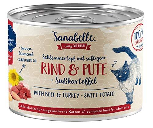 Sanabelle Nassfutter Schlemmertopf mit Rind & Pute, 6 x 180 g, 1.080 Kg