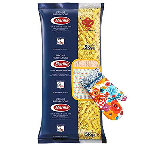 Ducomi Pacchetto Fusilli 5 kg con Set Cucina di Guanto e Presina da Forno - Pasta di Semola con Ingredienti di Qualità dell'Eccellenza Italiana - Bontà Irresistibile Quotidiana (Fusilli)