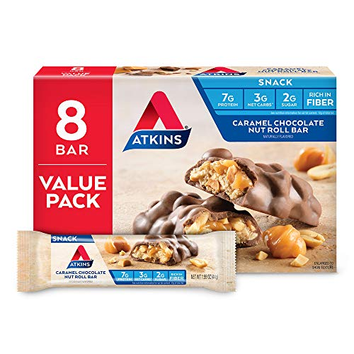 Atkins Snack Bar, Caramel Chocolate Nut Roll, 8 Count (Value Pack)