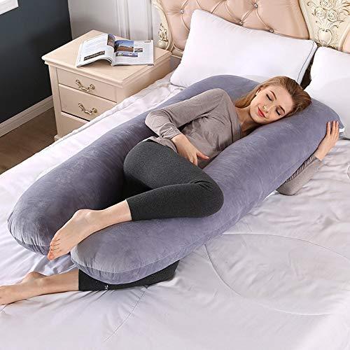 LEELFD Bedding Full Body Pillow for Pregnant Women U Shape Boyfriend Pregnancy Pillow Sleeping Support Maternity Pillow Side Sleepers 70x130cm Velvet gray