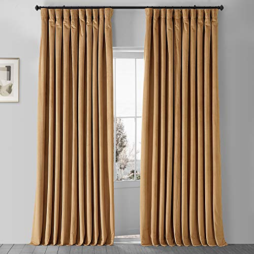 HPD Half Price Drapes VPCH-VET1211-108 Signature Extra Wide Velvet Blackout Curtain (1 Panel), 100 X 108, Amber Gold