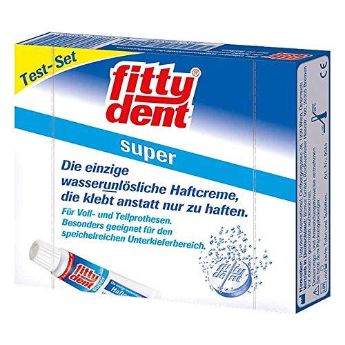 FITTYDENT super Haftcreme Test-Set 10g+4 Rein.Tab. 1 P