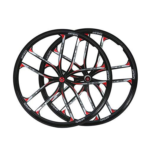 WHQ 26 Inch Integrated Cycling Wheels, Magnesium Alloy MTB Disc Brake Hybrid/Mountain Bike for 7/8/9/10/11 Speed Cassette Cycling (Color : Black, Size : 26in)