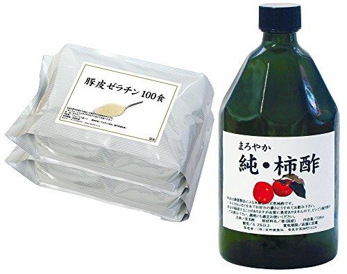 自然健康社 国産豚皮ゼラチン 100袋 + 国産純・柿酢 720ml