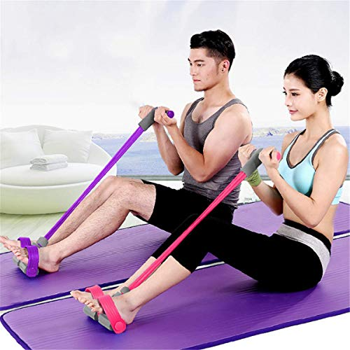 ABMOS Body Tube Fitness Band Expander Stark Foam Handle Portable Pilates Resistance Band Toning Bar Home Gym Body Workout Yoga Fitness Stretch Sculpt - Púrpura