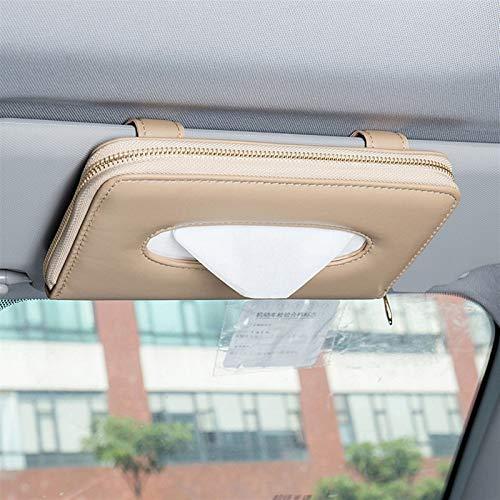 Auto Sonnenblende PU-Leder-Kasten-Abdeckungs-Fall-Auto-Klipp-Halter-Papierserviette Zubehör Auto Organizer Car Interior Zubehör (Color Name : Beige)