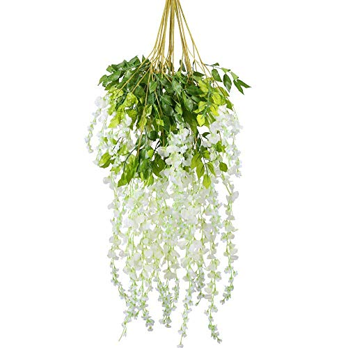 Living room tabletop fake flower plants, 12PCS 3.6 feet wisteria fake flower hanging wisteria wreath fake wisteria vine Ratta rayon wisteria ivy hanging flower wedding garden family gathering hotel d