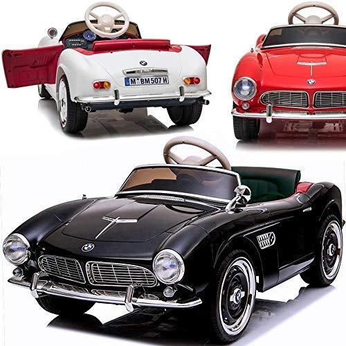 Elektrisches Kinderauto Elektroauto für Kinder BMW 507 Roadster - Lizensiert - 2x35W, Ledersitz, Eva-Gummireifen, E-Oldtimer (SCHWARZ)