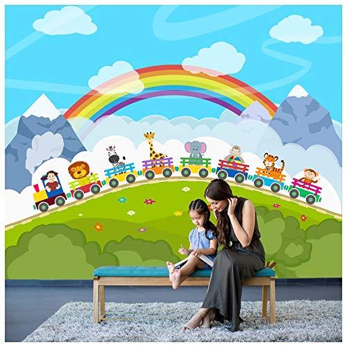 azutura Tierzug Fototapete Regenbogen Tapete Kinder Kinderzimmer Spielzimmer Wohnkultur Erhältlich in 8 Größen XX-Groß Digital