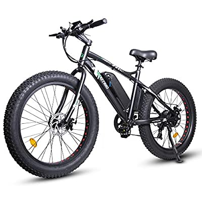 """ECOTRIC Powerful Electric Bicycle 26"""" X 4"""" Fat Tire Bike 500W 36V/12AH Battery EBike Moped Mountain Beach Snow Ebike Throttle & Pedal Assist - 90% Pre-Assembled (Black)"""