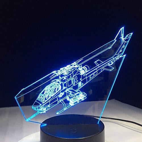Visuelle Licht 3D Nachtlichter Hubschrauber 3D Led Lampe Mit Flugzeug Kleine Flugzeuge 3D Nachtlichter 7 Farben Ändern Für Zuhause Schlafzimmer Kinder Geschenke Touch-Schalter
