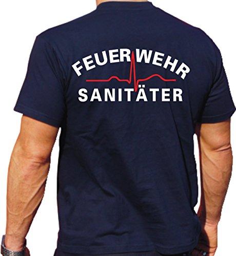 T-Shirt Navy, Feuerwehr Sanitäter (Weiss/rot)