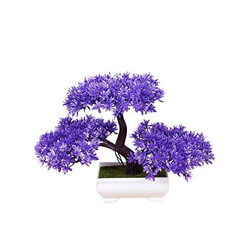 Frjjthchy Mini Artificial Bonsai Tree Plants with Plastic Cement Pots for Home Office Décor (Purple)