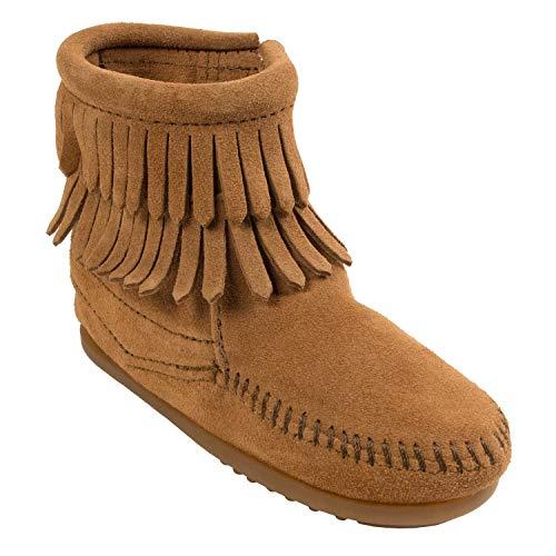 Minnetonka Minnetonka Double Fringe Side Zip Mädchen Kurzschaft Mokassin Boots, Beige (Taupe / TPE), 31 EU