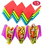 Colorful Taco Holder Stands Set of 5 - Premium Large Taco Tray Plates Holds Up...