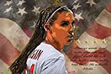 Top USA Women's Soccer Player Poster 24x36 Always Work Hard Quote Home Decor Print