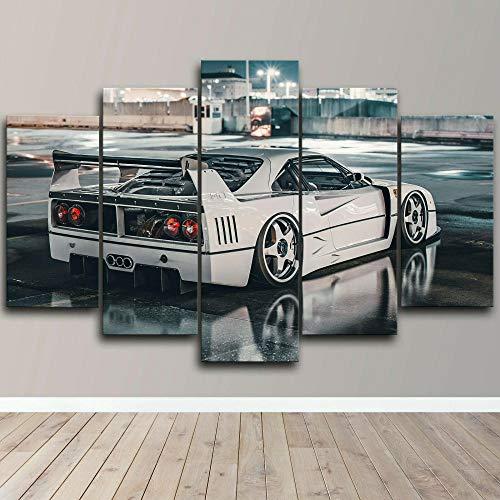 XIAYUU Ferrari F40 Rare Classic Super Car Cuadro sobre Lienzo 5 Piezas HD Póster Modernos Mural Fotos Arte Pintura...